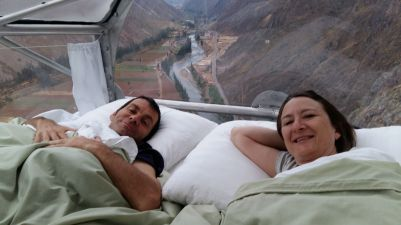 skylodge waking up Sacred Valley Peru